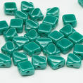 Silky Bead - 6x6 mm - Turquoise Green Shimmer - 40-pack